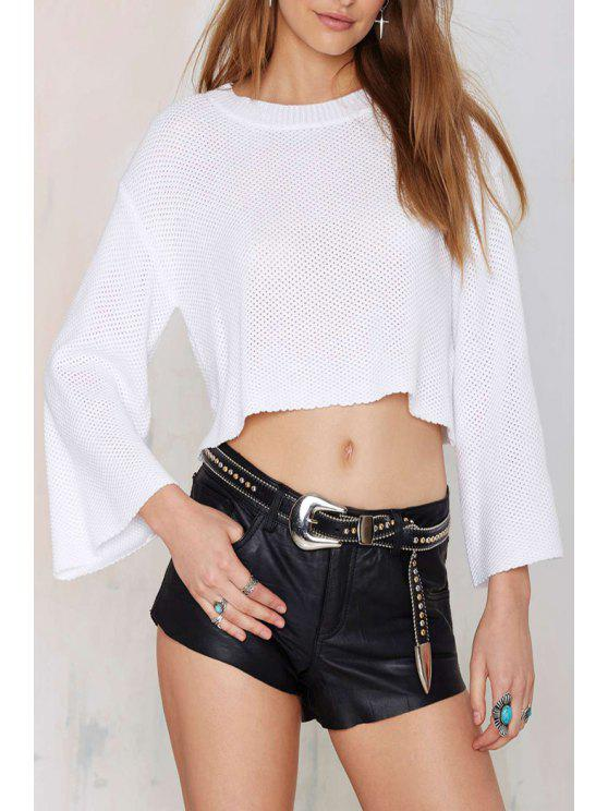 sale Solid Color Loose-Fitting Long Sleeve Sweater - WHITE S