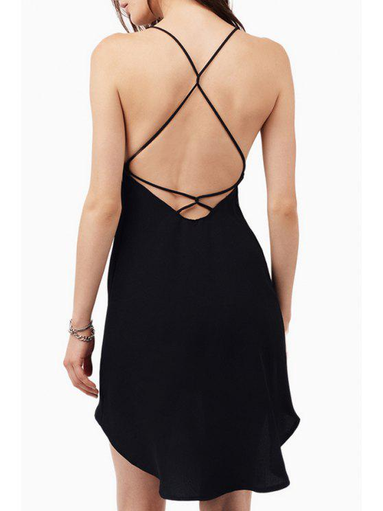 unique Spaghetti Strap Cross Backless High Low Dress - BLACK 2XL