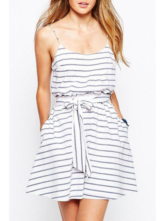hot Spaghetti Strap Stripe Tie-Up Sleeveless Dress - WHITE S