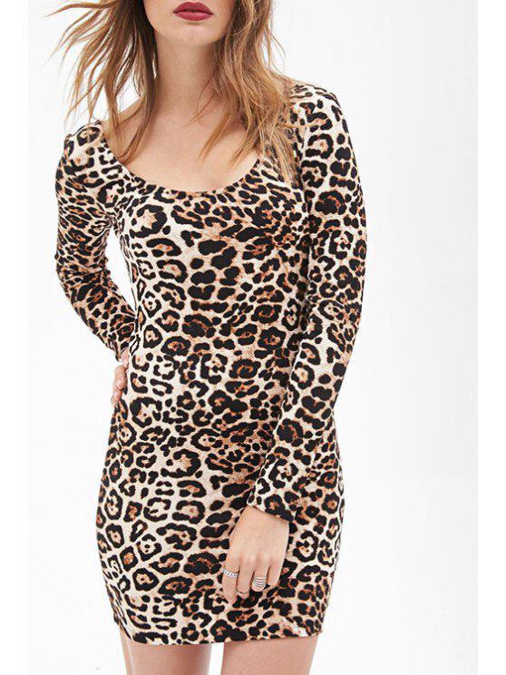 womens Long Sleeve Leopard Print Bodycon Dress - LEOPARD XL