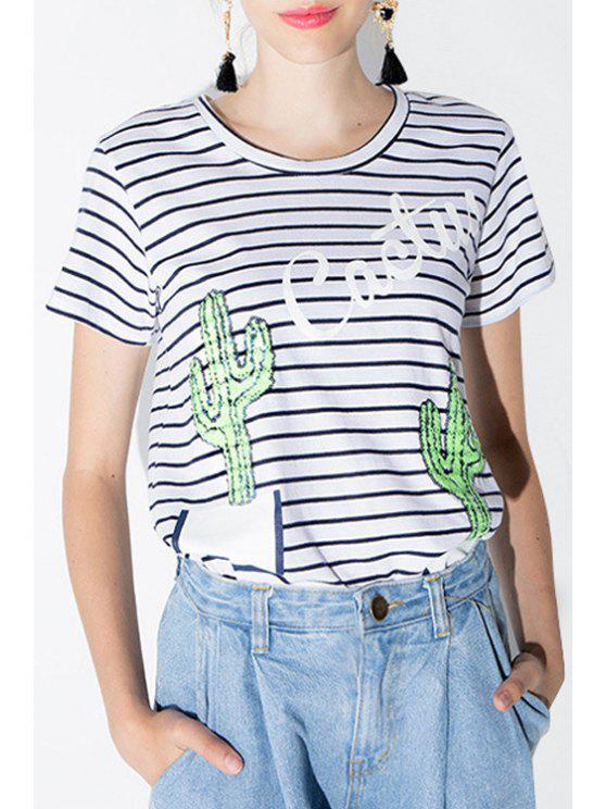 lady Stripe Cactus Pattern Sequins Short Sleeve T-Shirt - WHITE M