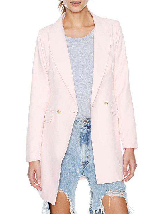 lady Shawl Collar Solid Color Two Buttons Blazer - PINK S