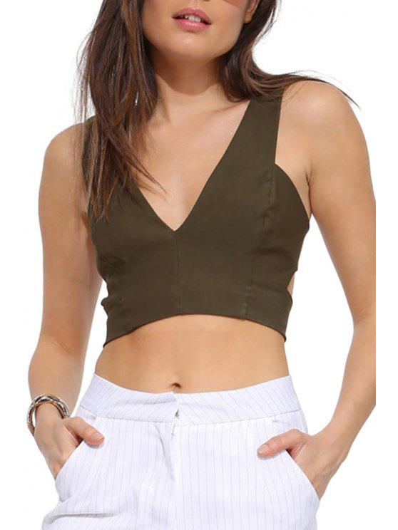 women's Solid Color Hollow Out Sleeveless Crop Top - ARMY GREEN L