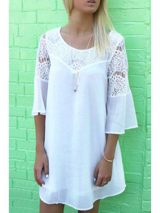 chic Openwork Lace Hook Chiffon Dress - WHITE S