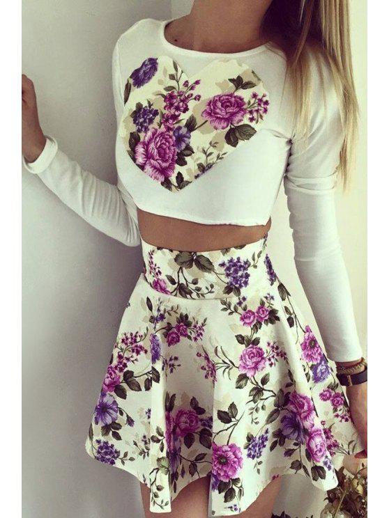unique Long Sleeve Crop Top + Purple Floral Print Skirt Twinset - PURPLE S