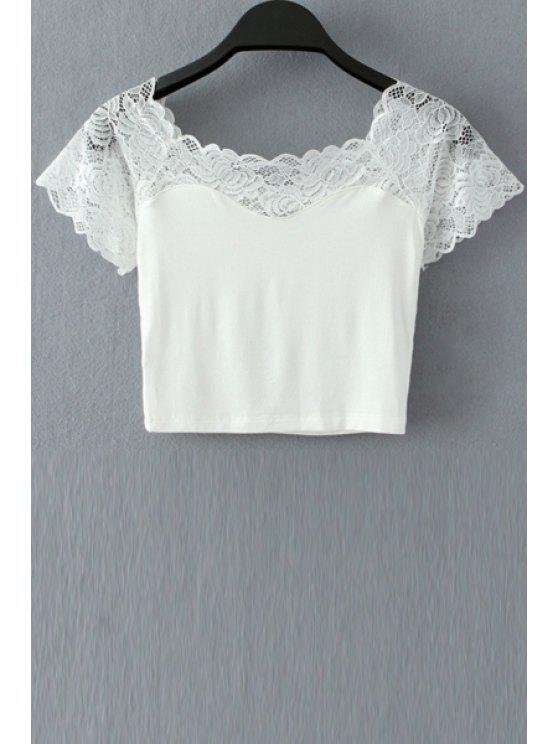 outfits Scoop Neck Floral Lace Splicing Crop Top - WHITE ONE SIZE(FIT SIZE XS TO M)