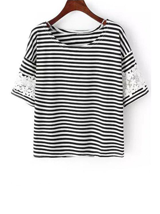 chic Scoop Neck Lace Splicing Stripe T-Shirt - WHITE AND BLACK ONE SIZE(FIT SIZE XS TO M)