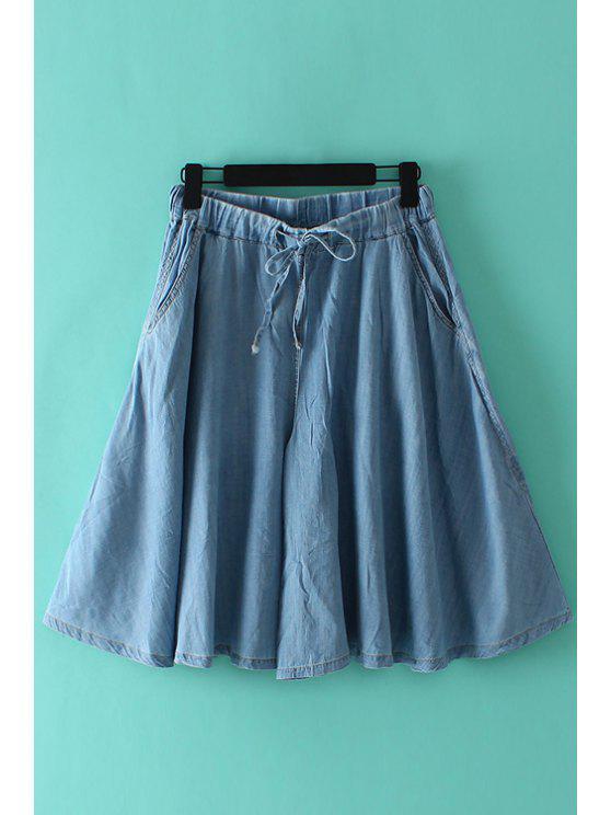 unique Bleach Wash Tie-Up Denim Culottes - LIGHT BLUE M
