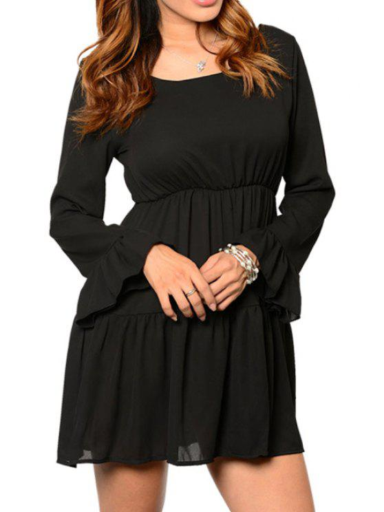 outfit Flouncing Crisscross Back Black Dress - BLACK S