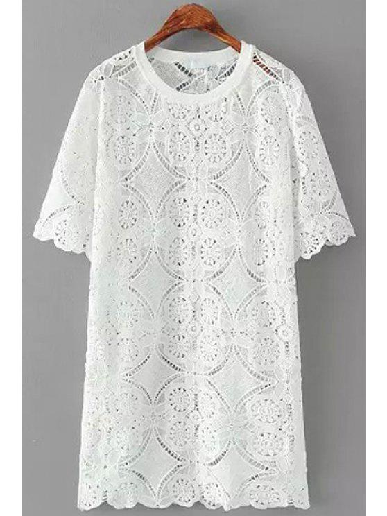 women's Floral Lace See-Through Short Sleeve Dress - WHITE ONE SIZE(FIT SIZE XS TO M)