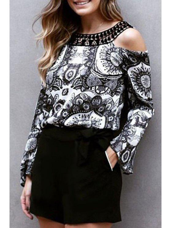 fancy Vintage Print Hollow Long Sleeve Blouse - WHITE AND BLACK S