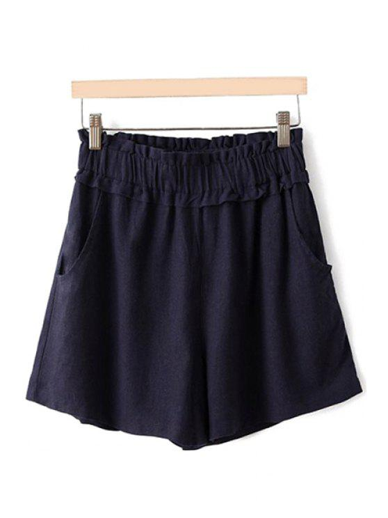 ladies Flounce Splicing Solid Color Shorts - CADETBLUE ONE SIZE(FIT SIZE XS TO M)