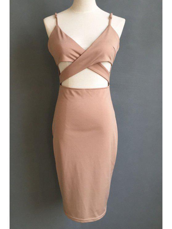 shop Solid Color Cami Hollow Midi Dress - BROWN M