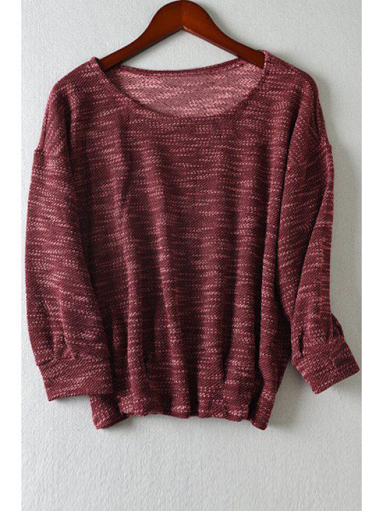 online Scoop Neck Color Mixed Long Sleeve T-Shirt - WINE RED L