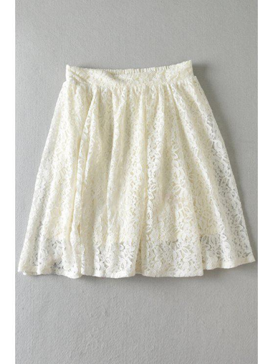 trendy Floral Lace Multi-Layered Skirt - OFF-WHITE ONE SIZE(FIT SIZE XS TO M)