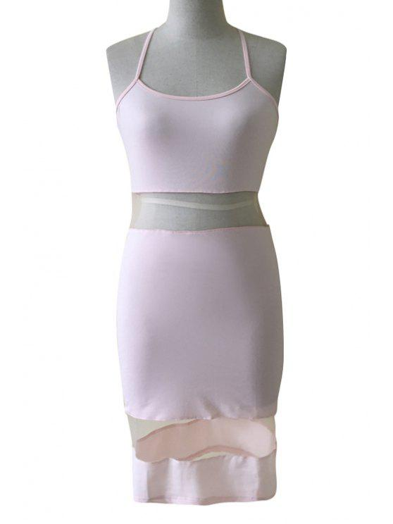 ladies Pure Color Voile Spliced Cami Dress - PINK XS
