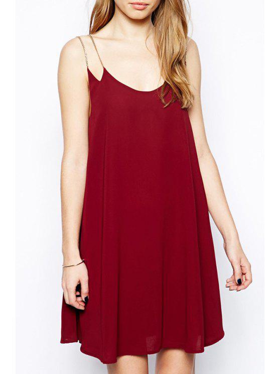 unique Metal Strap Flare Dress - RED S