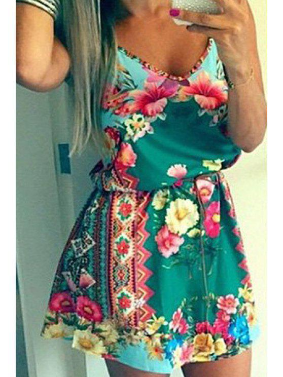 outfit Floral Print Cami A Line Dress - ICE BLUE S