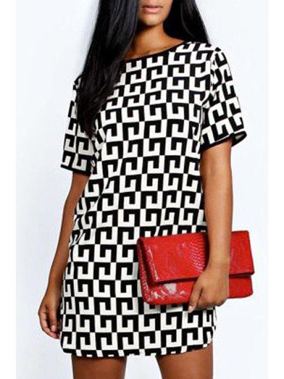 latest Geometric Pattern Short Sleeves Dress - WHITE AND BLACK S