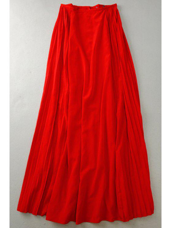 hot Solid Color Pleated Long Skirt - RED 36