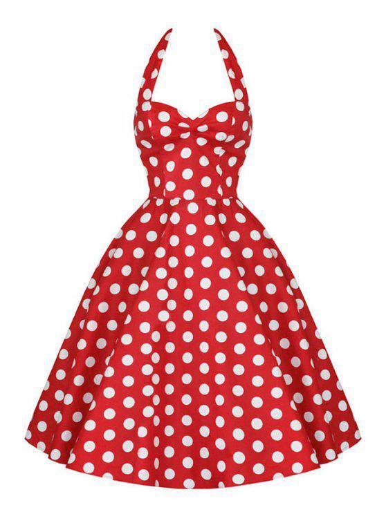 Polka Dot Print Halter A Line Pin Up Dress RED: Print Dresses XL | ZAFUL