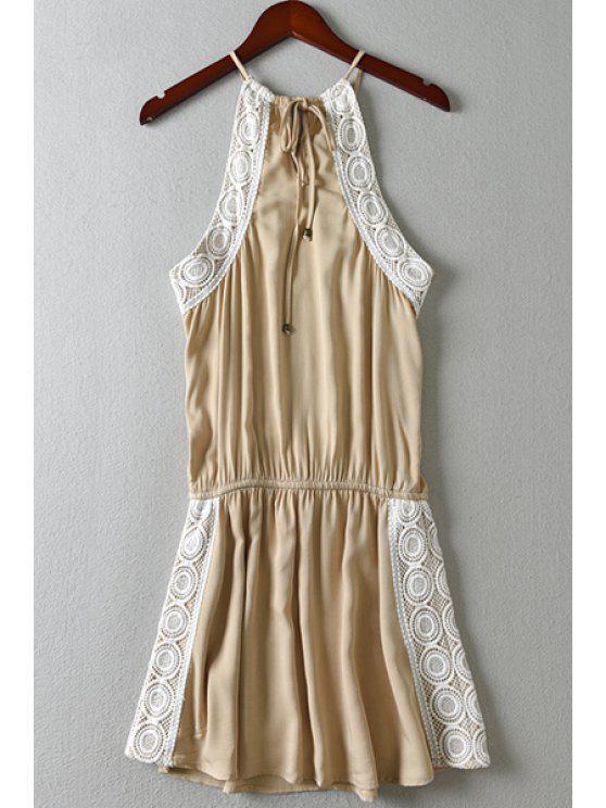 7dae91cc4a09 Spaghetti Strap Lace Splicing Tie-Up Dress KHAKI  Summer Dresses L ...
