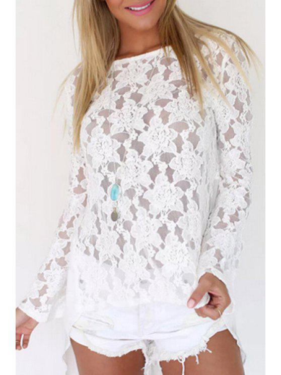 buy White Lace Long Sleeve Backless Blouse - WHITE S