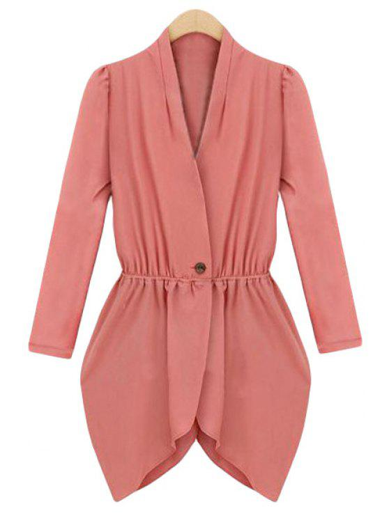 affordable One Button Nipped Waist Asymmetric Coat - WATERMELON RED S