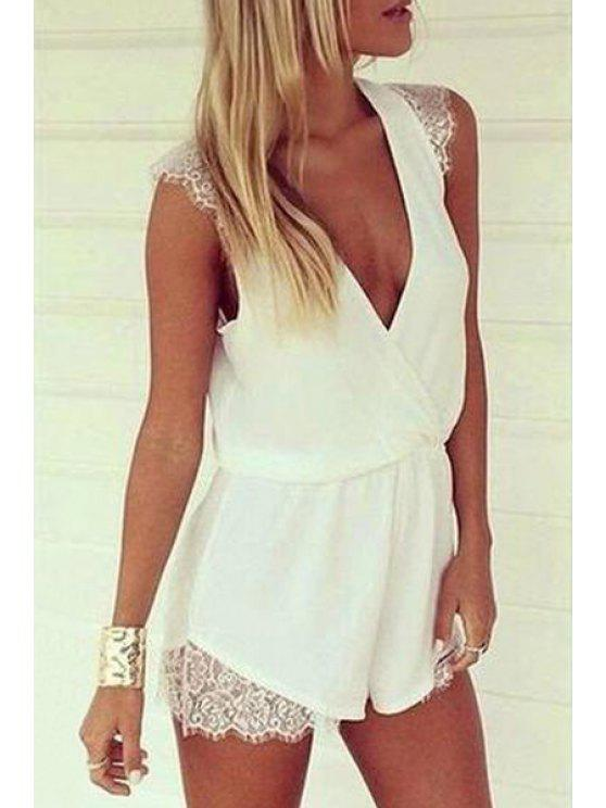 sale White Plunging Neck Sleeveless Playsuit - WHITE S