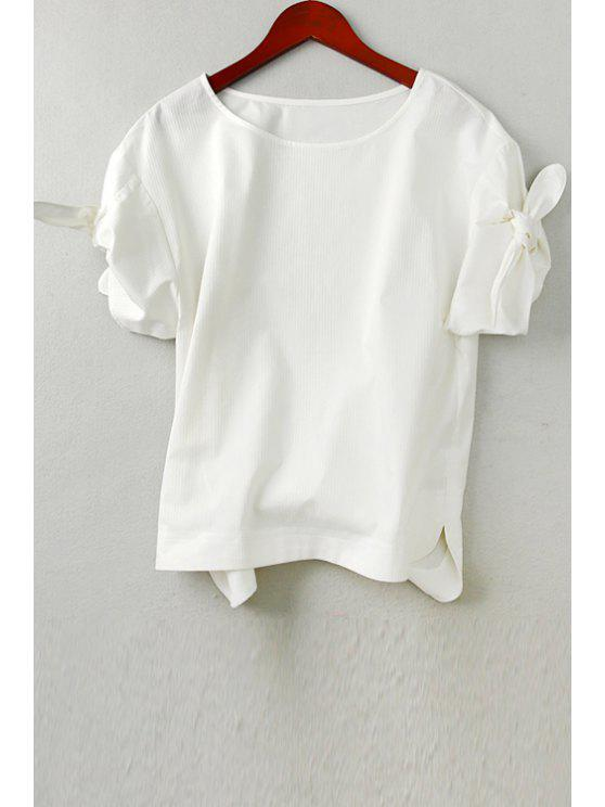 new Solid Color Tie Knot Short Sleeve T-Shirt - WHITE M