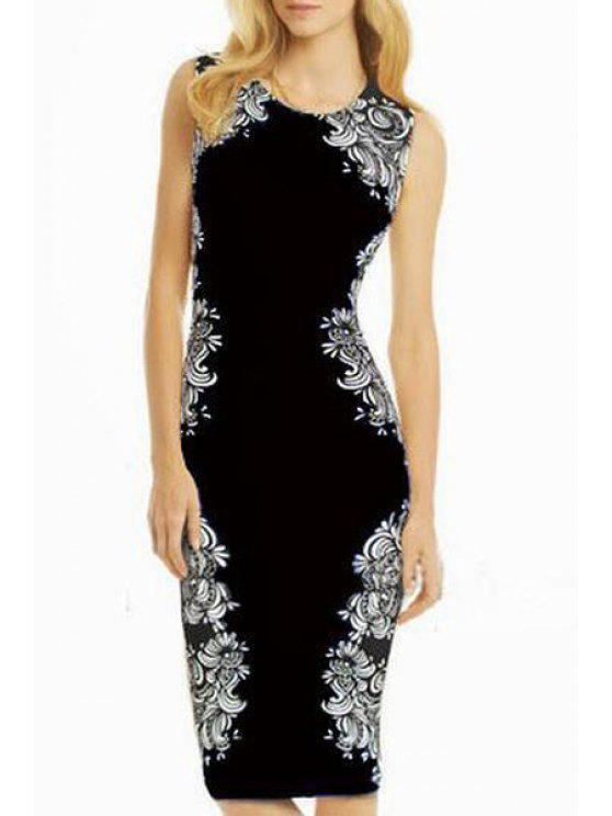 affordable Floral Sleeveless Bodycon Dress - BLACK S