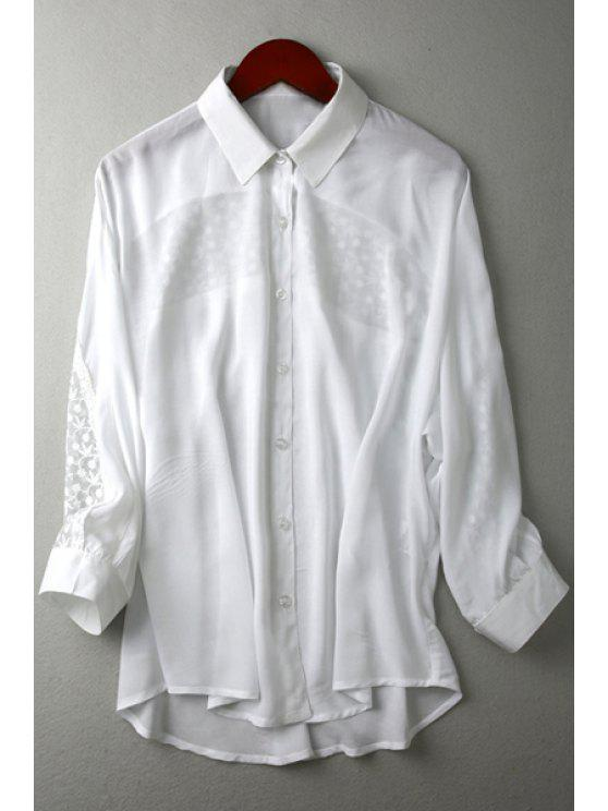 75daf17a690691 27% OFF  2019 See-Through Lace Splicing Long Sleeve Shirt In WHITE ...
