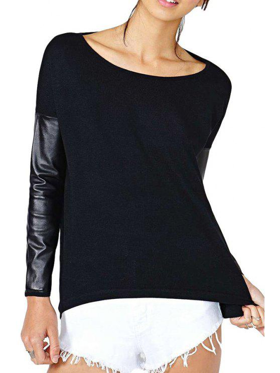 unique Faux Leather Spliced Black T-Shirt - BLACK S