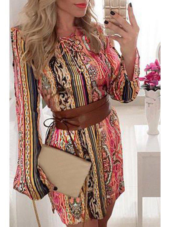 lady Vintage Print Long Sleeve Dress - COLORMIX S