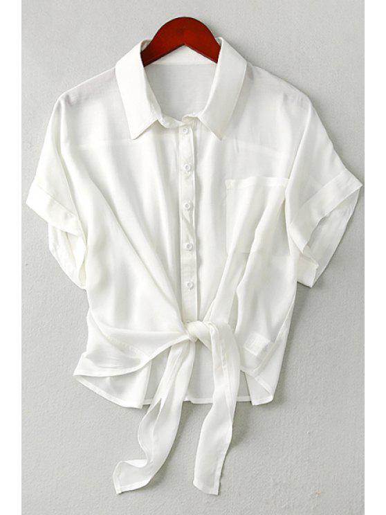 outfit Tie Knot Solid Color Short Sleeve Shirt - WHITE M