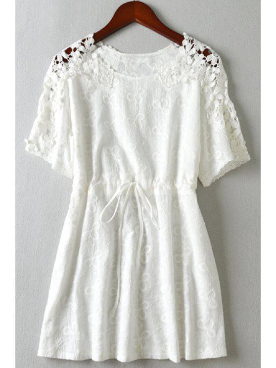 online See-Through Lace Splicing Short Sleeve Dress - WHITE M
