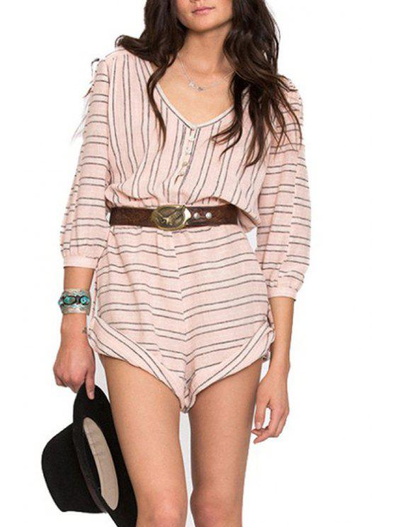 outfit Striped V Neck 3/4 Sleeve Playsuit - SHALLOW PINK S