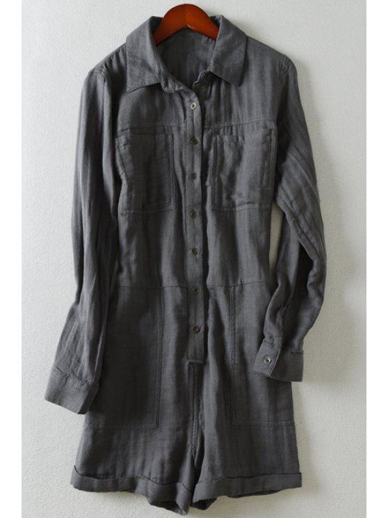 online Pockets Single-Breasted Long Sleeve Romper - DEEP GRAY S