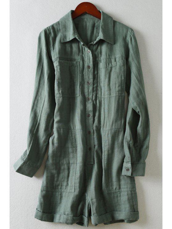 trendy Pockets Single-Breasted Long Sleeve Romper - DEEP GREEN L