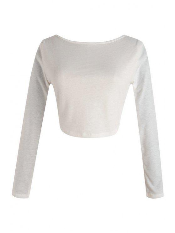 outfit Long Sleeve Fitted Zipper Design Crop Top - WHITE S