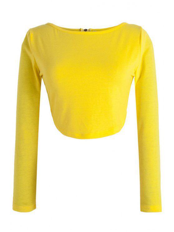 latest Long Sleeve Fitted Zipper Design Crop Top - YELLOW XL