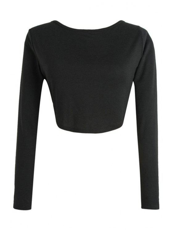 618660fac09f35 24% OFF  2019 Long Sleeve Fitted Zipper Design Crop Top In BLACK ...