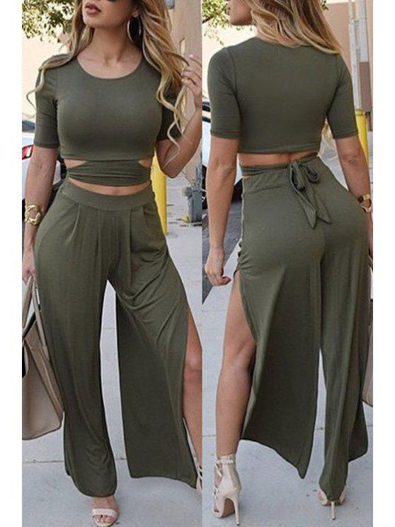 women Solid Color Short Sleeve Crop Top and Wide Leg Pants Suit - BLACKISH GREEN M