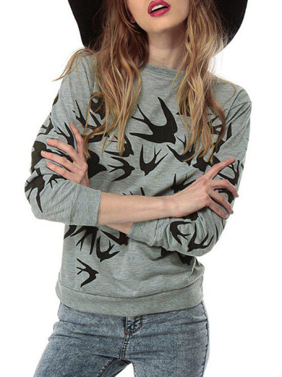 women Black Swallow Print Long Sleeve Sweatshirt - GRAY XL