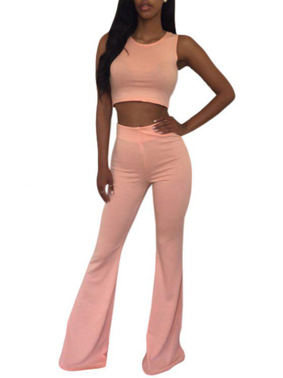 women Sleeveless Crop Top and Solid Color Flare Pants Suit - PINK S