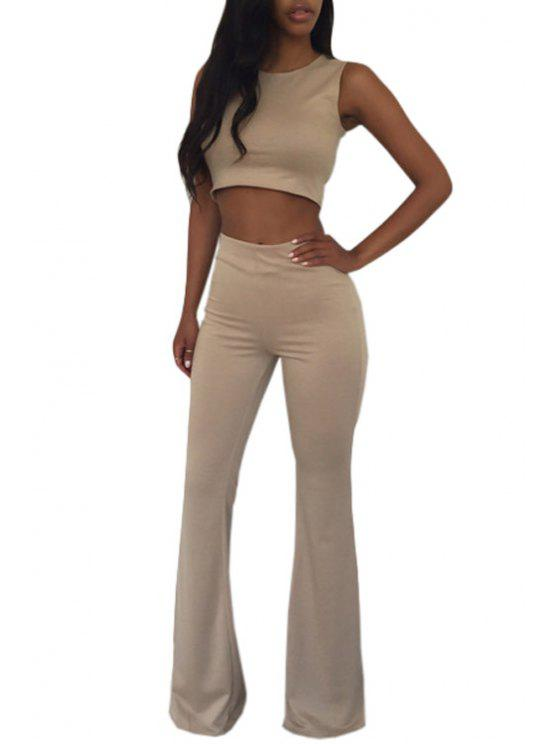 chic Sleeveless Crop Top and Solid Color Flare Pants Suit - KHAKI S