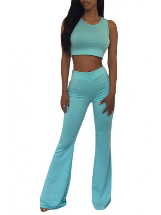 shop Sleeveless Crop Top and Solid Color Flare Pants Suit - GREEN L