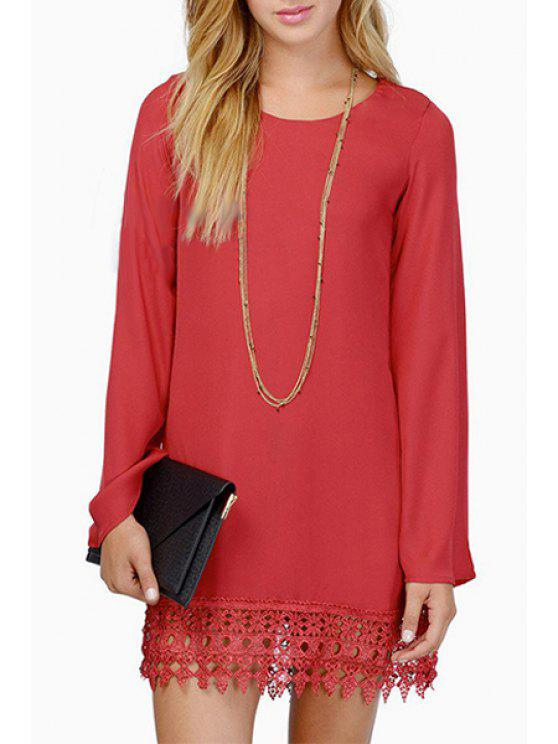 women Solid Color Lace Spliced Chiffon Dress - RED S