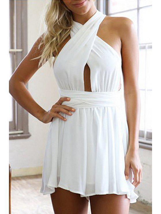 hot Plunging Neck Backless Self-Tie Convertible Romper - WHITE L