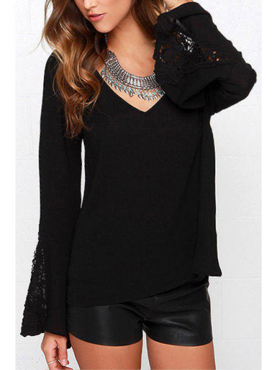 outfit V-Neck Lace Splicing Bell Sleeve T-Shirt - BLACK XS